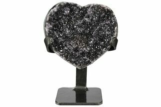 "Buy 4.8"" Quartz/Amethyst Crystal Heart with Metal Stand - Uruguay - #128074"