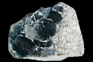 "2.15"" Cubic, Blue-Green Fluorite Crystals on Quartz - China For Sale, #128555"