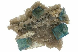 "Buy 2"" Cubic, Blue-Green Fluorite Crystals on Quartz - China - #128572"