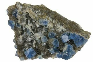 "2.4"" Blue Cubic Fluorite on Quartz - China For Sale, #128573"