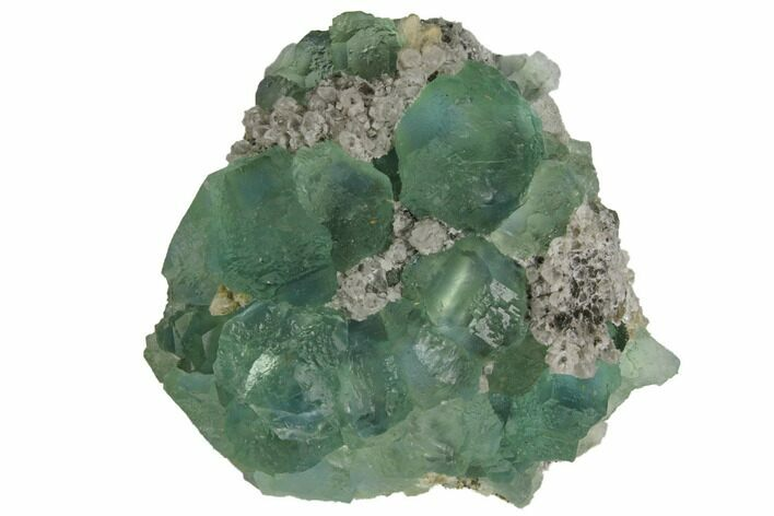 "2.5"" Light-Green Fluorite Crystals on Quartz - China"