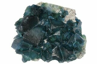"Buy 3.3"" Blue-Green Fluorite Crystal Cluster on Quartz - China - #128800"
