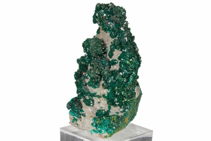 "3.6"" Gemmy Dioptase and Mimetite on Dolomite - Ntola Mine, Congo"