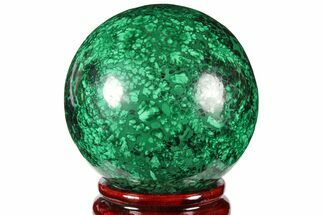 "Buy 2.95"" Flowery, Polished Malachite Sphere - Congo - #131827"