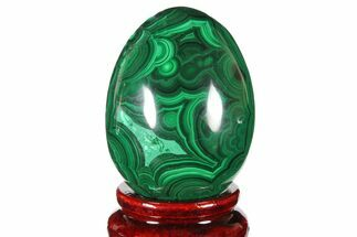 "Buy 2.25"" Flowery, Polished Malachite Egg - Congo - #131866"