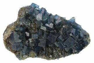 "Buy 4.7"" Blue Cubic Fluorite on Quartz - China - #132772"
