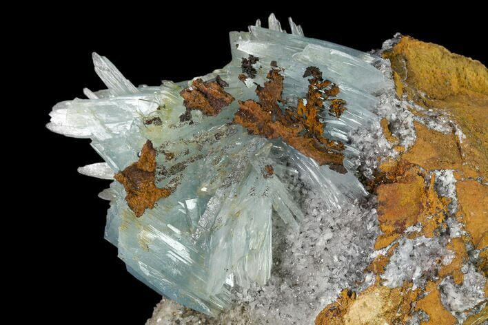 "7.2"" Blue Bladed Barite Crystal Clusters with Calcite   - Morocco"