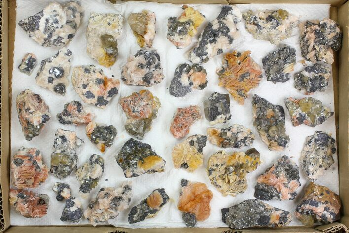 "Lot: 1-2"" Cerussite, Barite, & Galena Clusters - 38 Pieces"