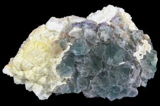 "Buy 3.5"" Green Octahedral Fluorite and Calcite Crystal Association - China - #138703"