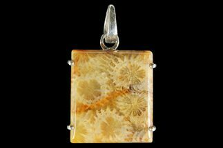 20 Million Year Old Fossil Coral Pendant - Sterling Silver For Sale, #142289