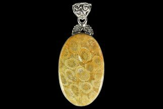 20 Million Year Old Fossil Coral Pendant - Sterling Silver For Sale, #142292