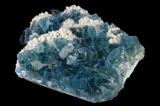 "Buy 3.2"" Cubic, Blue-Green Fluorite Crystals on Quartz - China - #142375"