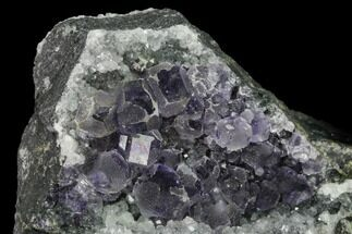 "3.1"" Purple Cuboctahedral Fluorite Crystals with Quartz - China For Sale, #146648"