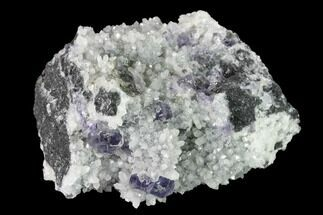 "Buy 3.5"" Purple Cuboctahedral Fluorite Crystals on Quartz - China - #147043"