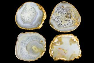 Buy Four Polished Brazilian Agate Coasters - Gold Electroplated Edges - #147793