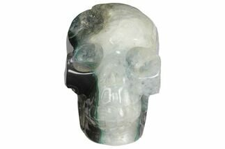 "4.2"" Polished Agate Skull with Quartz Crystal Pocket  For Sale, #148094"