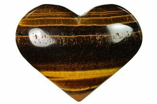 "3.1"" Polished Tiger's Eye Heart For Sale, #148781"