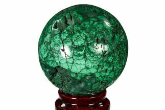 "Buy 2.6"" Flowery, Polished Malachite Sphere - Congo - #150241"