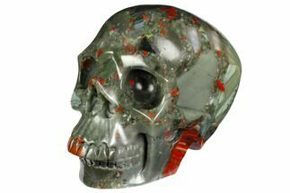 "Buy 6.1"" Realistic, Polished Bloodstone (Heliotrope) Skull  - #151198"