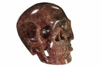 "5"" Realistic, Carved Strawberry Quartz Crystal Skull For Sale, #151184"