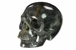 "Buy 5"" Realistic, Carved Smoky Quartz Crystal Skull - #151171"