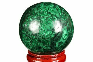 "1.55"" Flowery, Polished Malachite Sphere - Congo For Sale, #157265"