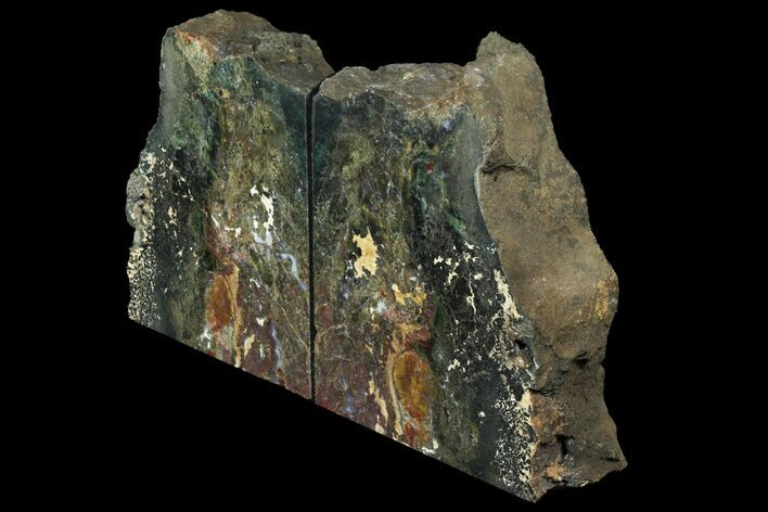 "6.2"" Green Jasper Replaced Petrified Wood Bookends - Oregon"