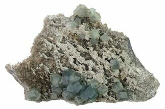 "7.2"" Blue-Green Cuboctahedral Fluorite on Smoky Quartz - China For Sale, #160700"
