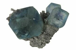 "1.85"" Blue-Green Cuboctahedral Fluorite on Sparkling Quartz - China For Sale, #161777"