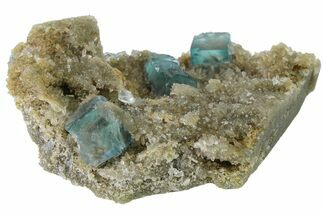 "2.8"" Cubic, Blue-Green Fluorite Crystals on Quartz - China For Sale, #163571"