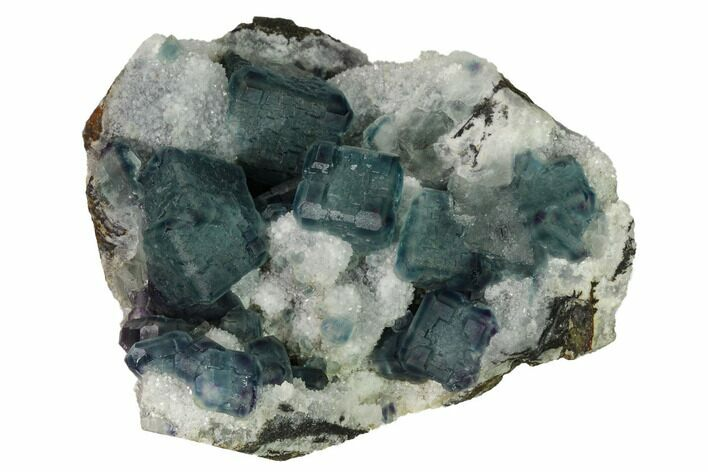 "3.7"" Pristine, Multicolored Fluorite Crystals on Quartz - China"