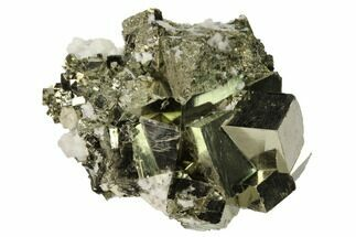 "Buy 1.9"" Cubic Pyrite Crystal Cluster with Calcite - Peru - #167713"