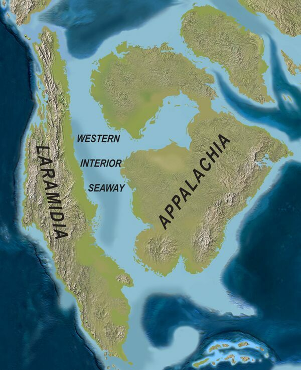 A map showing what the Western Interior Seaway would have looked like during the Late Cretaceous.