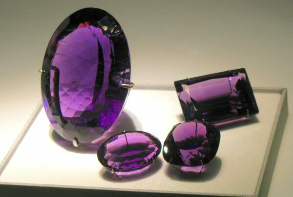 Amethyst from Brazil faceted into gemstones for jewelry.  Creative Commons License