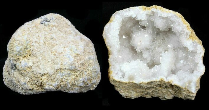 "3 - 4"" Sparkling Pre-Cracked Quartz Geodes From Morocco - Photo 1"