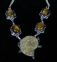 Fossil Ammonite Necklace With Tigerseye For Sale, #3371