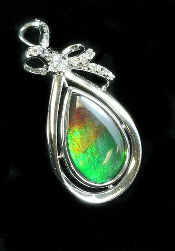 Ammolite Pendant With Sterling Silver & White Sapphires