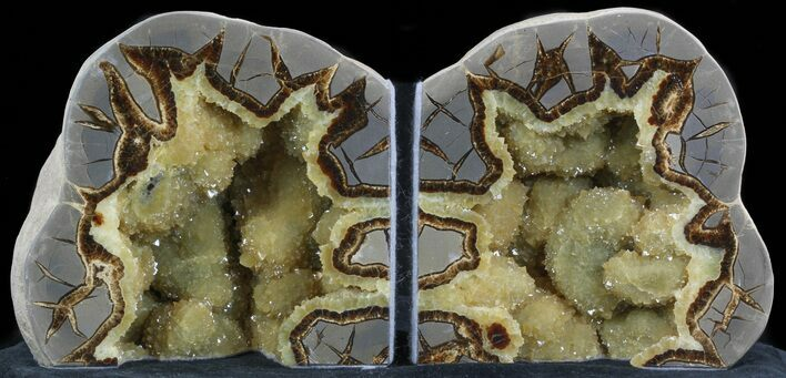 "5.5"" Polished Septarian Bookends - Crystal Filled"