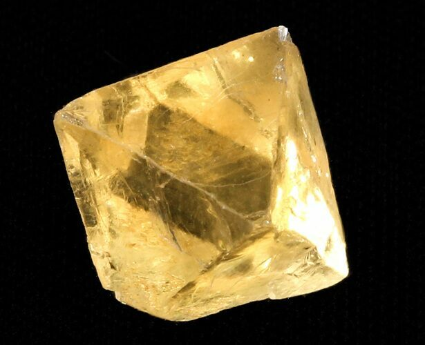 ".69"" Yellow, Cleaved Fluorite Octahedron - Illinois"
