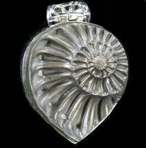 Pyrite Ammonite Fossil Pendant - Sterling Silver For Sale, #37961