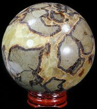 "3.18"" Polished Septarian Sphere - With Stand For Sale, #43853"