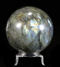 "2.55"" Flashy Labradorite Sphere - With Nickel Plated Stand For Sale, #53582"
