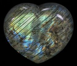 "3.4"" Flashy Polished Labradorite Heart For Sale, #58862"