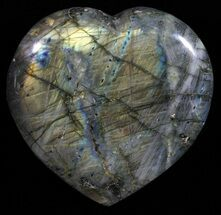 "3.9"" Flashy Polished Labradorite Heart For Sale, #58892"