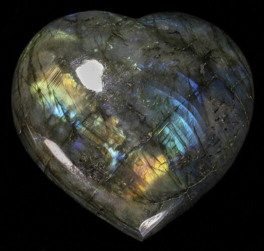 "3.6"" Flashy Polished Labradorite Heart"