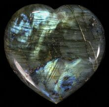 "3.45"" Flashy Polished Labradorite Heart For Sale, #58856"