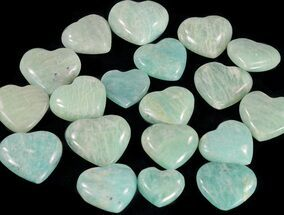 Small Polished Amazonite Hearts - 5 Pieces For Sale, #60356
