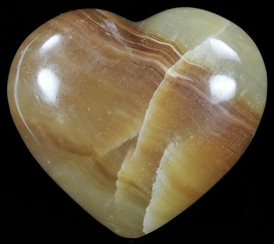 "2.7"" Polished, Brown Calcite Heart - Madagascar"