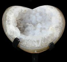 "3.9"" Polished, Agate Heart with Druzy Quartz - Metal Stand For Sale, #62819"