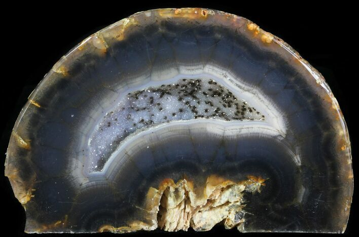 "2"" Polished Brazilian Agate Standup - Druzy Quartz"